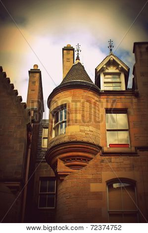 Historical Architecture In The Street Of The Old Town In Edinburgh, Scotland
