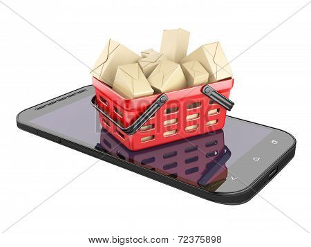 Cell Phone And Shopping Basket With Boxes