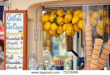 Lemon Ice Cream Kiosk In Capri
