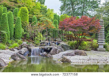 Cascade Waterfall In Japanese Garden In Bonn