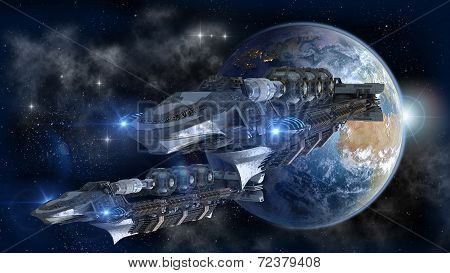 Spaceship fleet leaving Earth