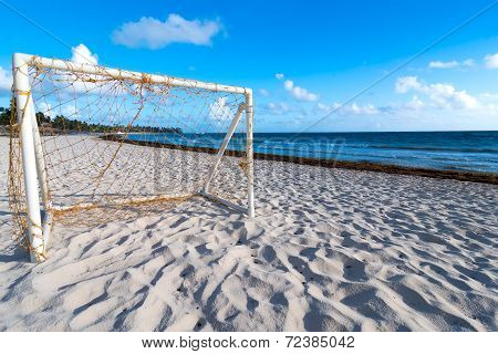 Soccer Goal on Caribbean Beach with white sand