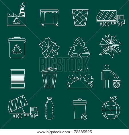 Garbage icons outline