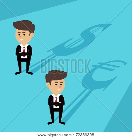 Businessmen shadow currency