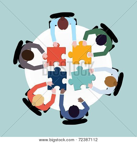 Business people puzzle
