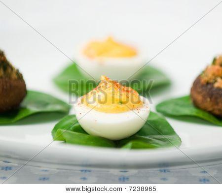 Deviled Eggs And Stuffed Mushrooms
