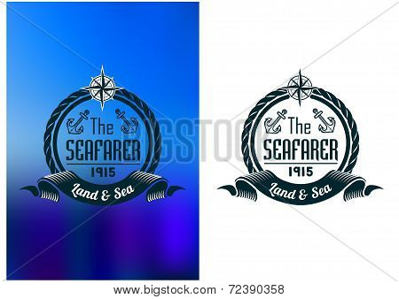 Retro seafarer tattoo or marine banner