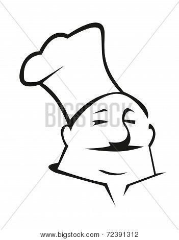 Cartoon chef in toque