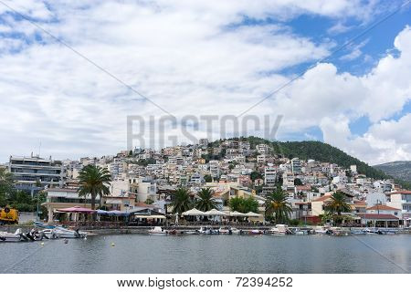 Residential District And Harbor In Kavala, Greece. The Land Area Of The Harbor Is The Focal Point Fo