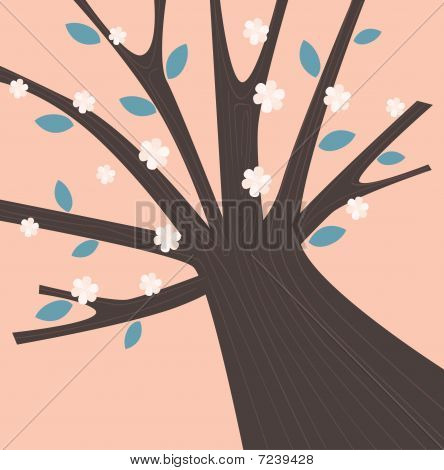 Spring tree with blossom flowers