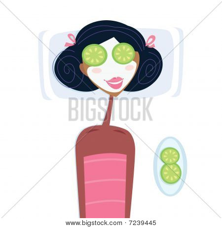 Spa - woman with facial mask