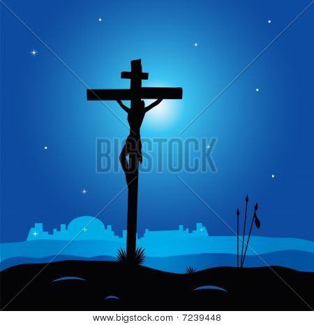 Easter calvary scene with cross in dark night