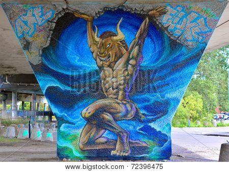 Street art Montreal Minotaur