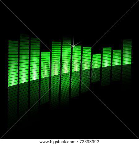 Vector illustration of music equalizer beam on black background