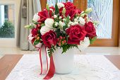 image of vase flowers  - Roses flowers bouquet inside vase on desk in house for decoration - JPG