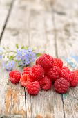 picture of eat me  - fresh raspberries with floral forget - JPG