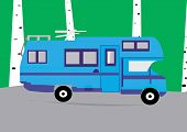 picture of campervan  - An illustration of a  motorhome driving through the  countryside - JPG