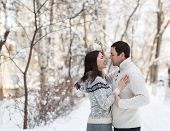 stock photo of mistletoe  - Happy young couple under mistletoe having fun in the winter park - JPG