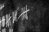 stock photo of jail  - Counting days on blackboard in the jail  - JPG