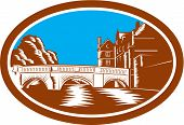foto of trinity  - Illustration of the Trinity College Bridge in Cambridge England spanning the River Cam viewed from afar set inside oval done in retro woodcut style - JPG