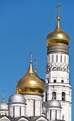 stock photo of blue-bell  - Golden domes of Orthodox churches and Ivan the Great Bell Tower in the Moscow Kremlin - JPG