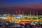 stock photo of greenpeace  - Oil refinery at twilight sky  in chonburi thailand - JPG