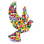 stock photo of peace  - Peace concept with dove made of World flags - JPG