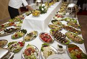 picture of catering service  - close up of buffet table arrangement catering - JPG
