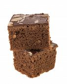 pic of brownie  - isolation of double cutting brownies on white background - JPG