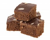 image of brownie  - pile of delicious cutting brownies on white background - JPG