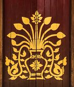 foto of woodcarving  - Traditional Lanna Myanmar Thai Painting Style on a Door - JPG