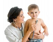 foto of wishing-well  - doctor examining child boy isolated on white - JPG