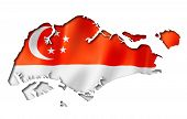 image of three-dimensional-shape  - Singapore flag map three dimensional render isolated on white - JPG