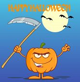 image of scythe  - Scaring Halloween Pumpkin With A Scythe Greeting Card Cartoon Character - JPG