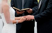stock photo of holding hands  - bride and groom holding hands during ring exchange part of an outdoor wedding ceremony - JPG