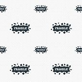 stock photo of fragile sign  - Fragile parcel sign icon - JPG