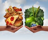 pic of  habits  - Nutrition choice and diet decision concept and eating choices dilemma between healthy good fresh fruit and vegetables or greasy cholesterol rich fast food with two hands holding food trying to decide what to eat - JPG