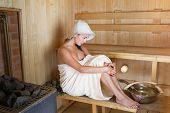 foto of sauna woman  - Young pretty woman in sauna health relax - JPG