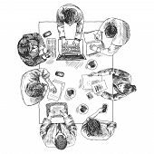 foto of orthogonal  - Business meeting concept top view people sitting on squared table sketch vector illustration - JPG