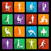 Постер, плакат: Physical activity icons flat