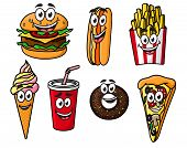 picture of bagel  - Happy colorful takeaway cartoon food with cute smiling faces including a cheeseburger - JPG
