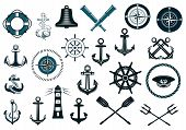 stock photo of marines  - Set of nautical or naval icons with anchor - JPG