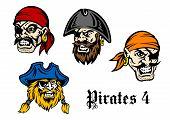 Постер, плакат: Cartoon pirates and captains