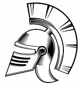 image of hoplite  - an illustration of black and white color hoplite helmet pattern design - JPG