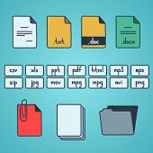 foto of png  - Hand draw doodle sketch set of document file fomats icons - JPG