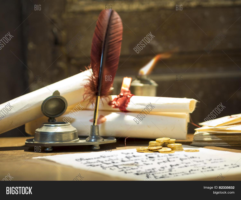 Antique Parchment Paper Sheets Lit Image Amp Photo