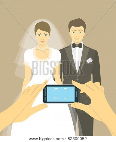Wedding Photo Of Bride And Groom By Mobile Phone