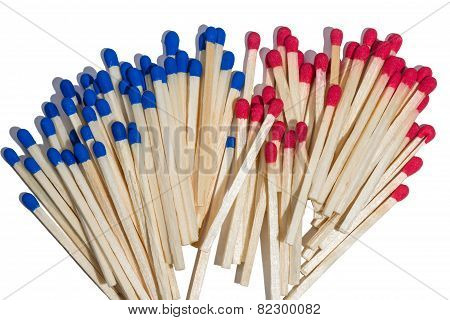 Matches With Red And Blue Sulfur