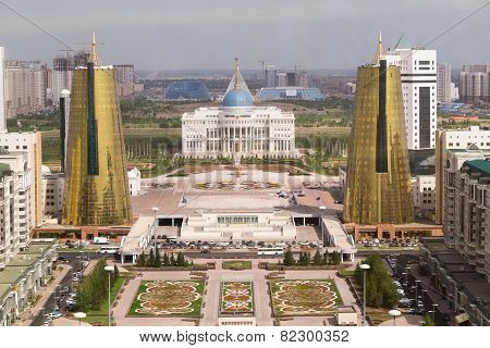 Presidential Palace And Twin Towers In Govermental District, Astana, Kazakhstan