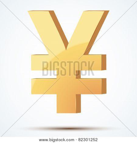 Golden symbol of yen